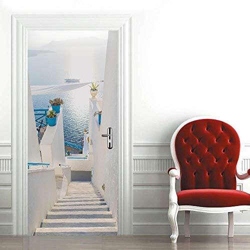 ZCFGG Adhesivo Puerta 3D Paisaje mediterraneo Etiqueta de la Puerta Autoadhesivo Vinilos Murales Carteles Pegatinas de Pared DIY Decoraciones para Puerta Sala de Baño Estar Dormitorio