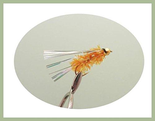 12Stück GOLDHEAD orange fritz Silver Wing, Angeln Fliegen. Größe 10