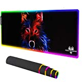 ITech-Phoenix RGB LED Titan Wolf Gaming Mouse Pad - Large Pad RGB Gaming Mat with Easy to Clean Waterproof Surface - Anti-Slip Rubber Base - 10 Colors & 4 Lighting Modes - 31.5 x11.8 x 0.16 inches