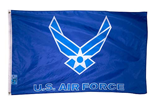 US Air Force Flag Wings Logo 3x5 ft USAF White on Blue Veteran Active