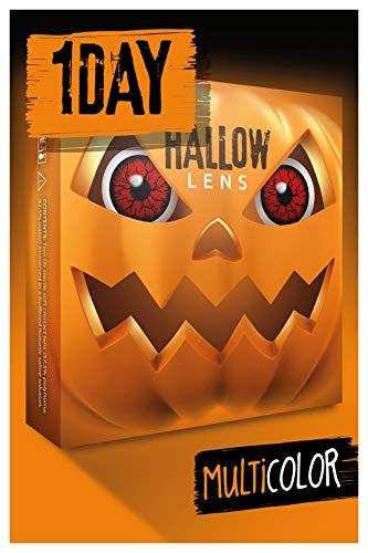 HALLOWLENS Farbige Halloween Kontaktlinsen rot DEVIL, weich, 2 Stück (1 Paar), Ohne Sehstärke