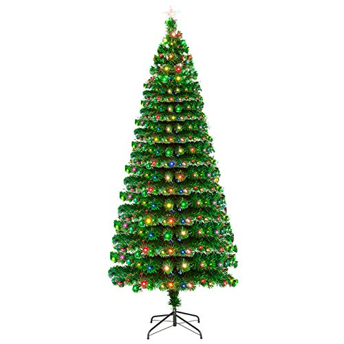 XM&LZ 7.5ft Fiber Optic Christmas Tree with 260 Led Lamps & 260 Branches,Holiday Decor PVC Artificial Christmas Pine,Ideal for Home Office