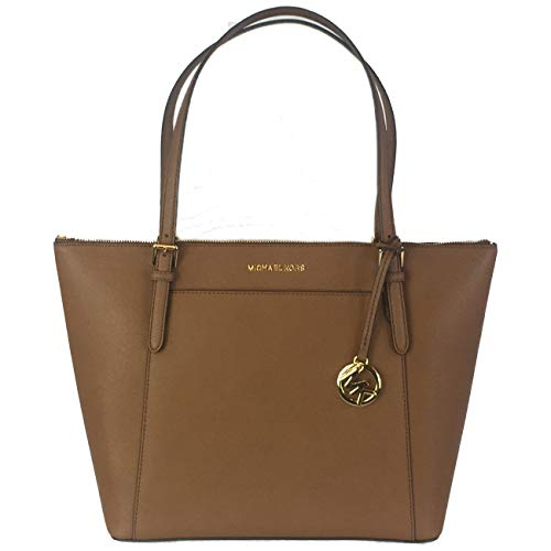 "Saffiano leather. Gold-tone hardware. Top-zip closure. Interior fully lined MK signature w/ sateen fabric. 1 zippered pocket & 8 multi-function slip pockets. 12-16"" W x 11"" H x 5"" D w/ 10"" adjustable drop."