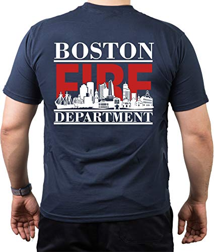 feuer1 T-Shirt Bleu Marine, Boston Fire Dept. avec Skyline de Boston (Rouge/Blanc) M Bleu Marine
