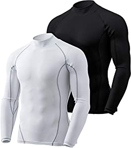 TSLA Men's (Pack of 2) Cool Dry Fit Mock Long Sleeve Compression Shirts, Suitable for Rugby Union and other sports