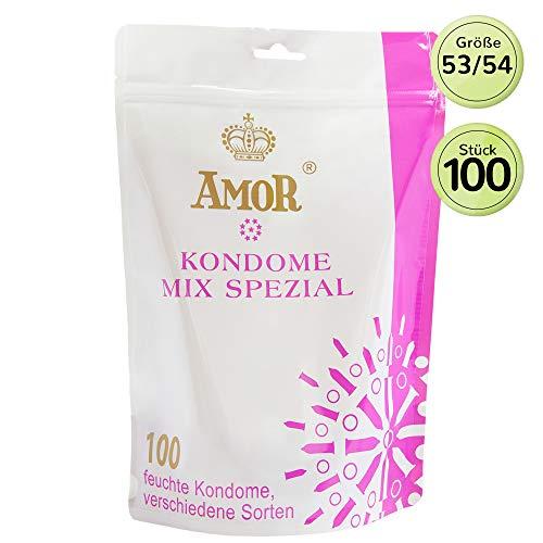 AMOR'Mix Spezial' 100 Preservativos Variados Para Una Sensación Auténtica, Real Y Extra Húmeda (Testados En Alemania)