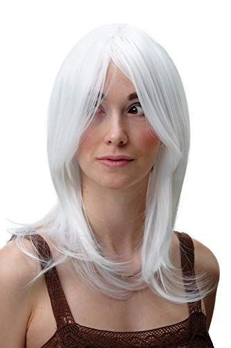 WIG ME UP - 3240-1001 Perruque dame mi-longue lisse blanche cosplay 45 cm
