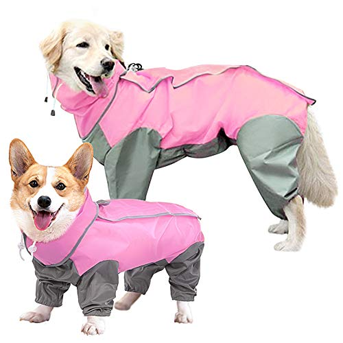 SUNFURA Full Body Dog Raincoat, Waterproof Dog Poncho Jacket with Adjustable Drawstring Removable Hood and Leash Hole, Lightweight Rainwear with Magic Sticker for Small Medium Large Dog Pink M