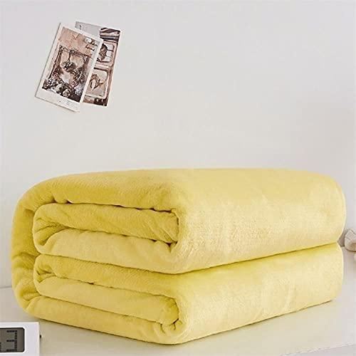 Weiche warme Korallen Fleece Flanell Decken für Betten Kunstpelz Nerz werfen einfarbige Sofabezug Tagesdecke Winter Plaid Decken-Gelb, 180x200cm (71x78inch)