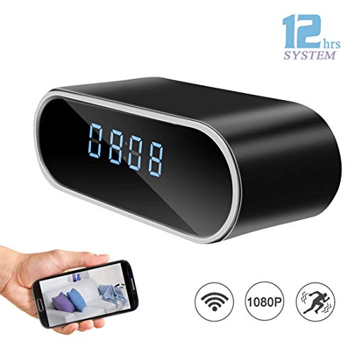 Hidden Clock Spy Camera, 1080P Alarm Clock Spy Camera WiFi Remote View Mini IP Covert Nanny Cam with Motion Detection Night Vision Realtime Video for Home Security