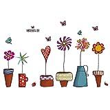 Etiqueta de la pared flores ollas pequeñas plantas de jardín mariposas de papel etiqueta del hogar pared extraíble decoración de ventana de vinilo dormitorio de la sala de PVC arte impermeable etiquet
