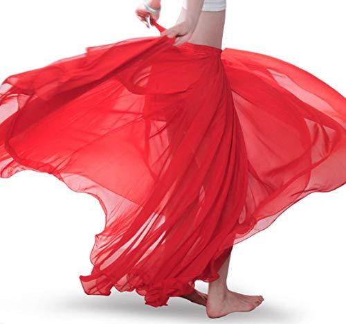 Vrouwen Buik Dans Rok Jurk Prestaties Kleding 720 Graden Chiffon Swing Rok