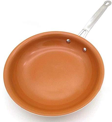 Ronda Antiadherente Sartén De Cobre con Recubrimiento De Cerámica De Gas Y Cocina De Inducción Sartén Sartenes Horno Lavavajillas Seguro para Cocinar Piezas