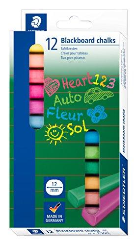 STAEDTLER 2360 Wandtafelkreide (hervorragende Farbabgabe, staubfrei, leicht abwischbar, Kartonetui mit 12 farblich sortierten Tafelkreiden)