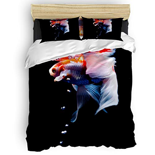 Goldfish in The Water Spit Bubbles Swinging Fins Ultra Soft Microfiber Teen Bedding Set, Black 4 Piece Cal. King Bed Set - 1 Flat Sheet, 1 Quilt Cover, 2 Pillow Cases