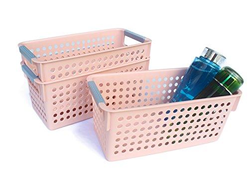 Honla Slim Plastic Storage Baskets Bins Organizer with Gray HandlesSet of 3Pink