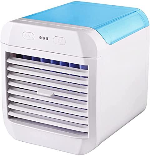 DLRBDMM Acondicionador de aire portátil, Mini refrigerador de ventilador de refrigerador de aire evaporativo USB con 3 velocidades, pequeña unidad de CA portátil para sala de oficina en el hogar (azul