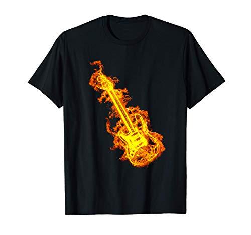 E-Gitarre In Flammen Geschenk Rock Gitarren Liebhaber T-Shirt