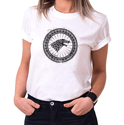 Escudo de Armas Wulf - Camiseta para Mujer de Cuello Redondo Targaryen Thrones Game of Stark Lannister Baratheon Daenerys Khaleesi TV BLU-Ray DVD, Größe2:Small, Farbe2:Blanco