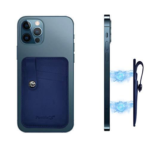 NeotrixQI Tarjetero Movil Magnética de Piel para la Parte Trasera del teléfono Compatible con iPhone 12 12 Pro 12 Pro MAX 12 Mini mag Safe (Azul Marino)