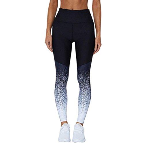 Toamen Femmes Pantalons de sport, Pantalon de course Leggings élastiques de fitness Entraînement de yoga Taille haute Dégradé de couleur Pantalon de yoga des sports (L, Bleu)