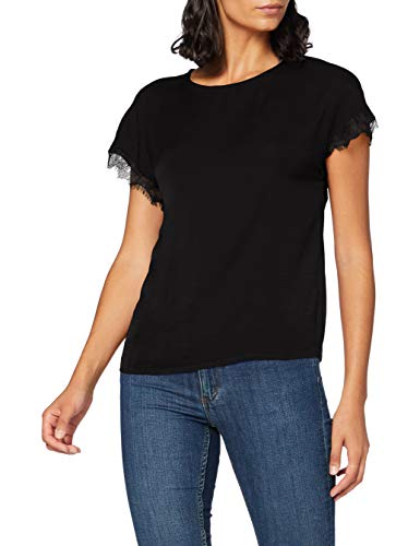 Only ONLAVA S/S O-Neck Lace Top JRS Blusas, Negro, XS para Mujer