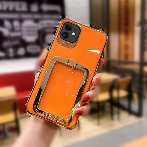 AAA&LIU Funda de teléfono con Soporte Cuadrado de Metal galvanizado para iPhone 11 12 Pro X XR XS MAX 7 8 Plus Funda Blanda, 1, para iPhone XS MAX