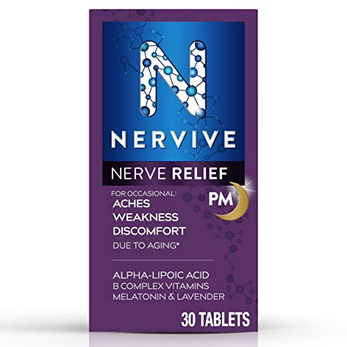 Nervive Nerve Relief PM for Nerve Aches Weakness Discomfort in Fingers Toes Hands Feet† Alpha Lipoic Acid ALA Vitamin B1 Vitamin B6 Melatonin Chamomile Lavender 30Day Tablet Supply, 30 Count