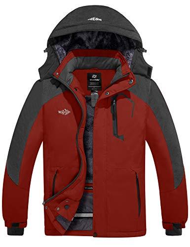 Wantdo Chaqueta de esquí impermeable para hombre, resistente al viento, para invierno, cálida - rojo - X-Large