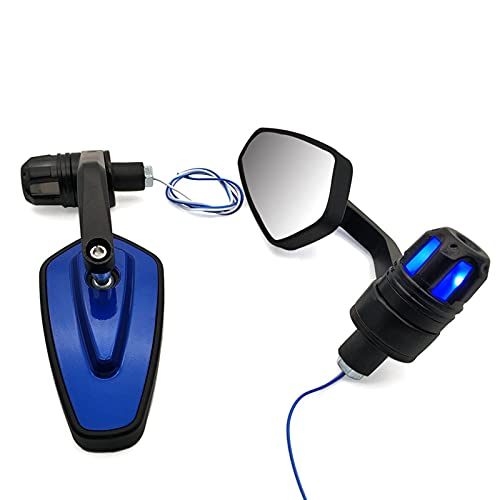 ZHUAN Espejo retroviso Lateral para SU-ZUK GSF 650 GSXR 1000 1100 400 600 750 GSXS 750 Retrovisor De Motocicletas Espejos Accesorios con Luz De Señal De Giro (Color : Blue)