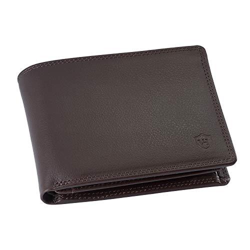 VON HEESEN Geldbeutel Männer mit RFID-Schutz - Made in Europe - 13 Fächer - Leder Geldbörse für Damen & Herren - Portemonnaie Portmonaise Brieftasche Portmonnaie Wallet Portmonee (Dunkelbraun)