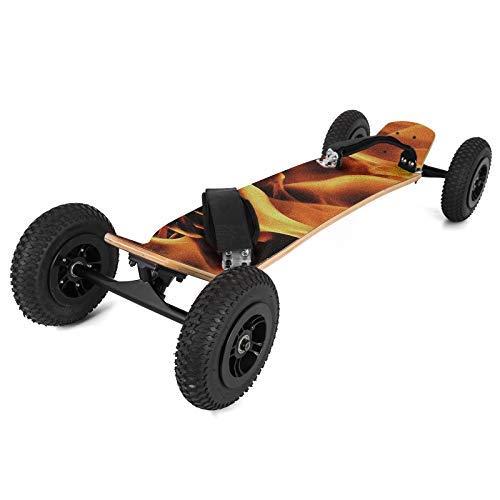 Ukiki Planche à roulettes Tout Terrain Mountainboard 99CM Skateboard Professionnel Fixations Capacité Skateboard avec 4 Roues Descente Libre en Croisière Dansante Flamme