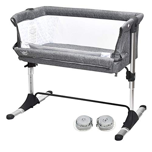 GLACER Baby Bedside Crib, Adjustable Baby Bassinet Bedside Sleeper for Newborn Infant with Carrying Bag, Detachable Mattress, Straps, Breathable Mesh, Easy Folding Portable Crib (Grey)