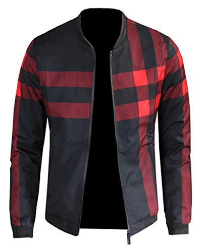 Men's Plaid Printed Pattern Lightweight Zip Up Baseball Bomber Jacket Coat Outerwear, 10#Color, US Small/34 = Tag L
