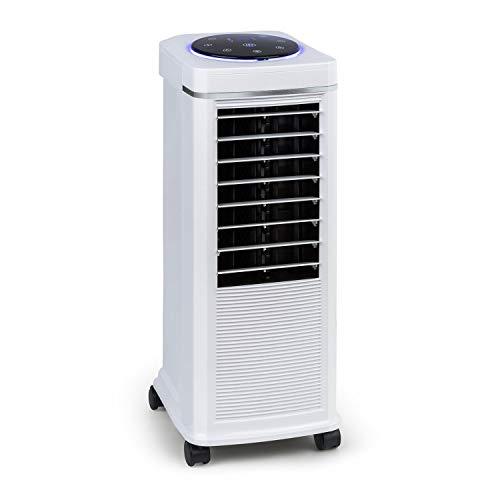 KLARSTEIN Windspiel - Raffrescatore Evaporativo, Ventilatore, Umidificatore, 3in1, 100 W, 8 Intensità di Ventilazione, 3 Modalità: Normale, Naturale, Notturna, Oscillazione Attivabile, Bianco Zinco