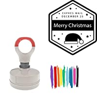 Expres Mail December 25 Merry Christmas Round Badge Style Pre-Inked Stamp, Yellow Ink Included