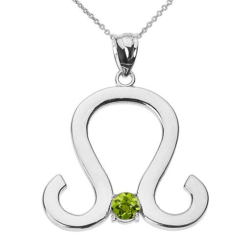 9 ct White Gold Leo Zodiac Sign August Birthstone Pendant Necklace Necklace (Available Chain Length 16'- 18'- 20'- 22') A