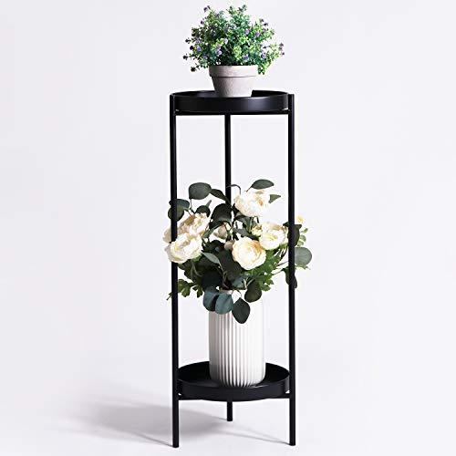 Mesa auxiliar de metal para plantas, base plegable y resistente para decoración del hogar (2 niveles L-negro)