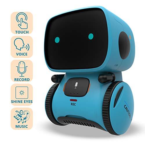 REMOKING Intelligent Roboter Kinder Spielzeug, Interaktives Roboter Lernspielzeug, Geschenke für Jungen Mädchen, Touch-Steuerung, Sprachsteuerung, Sprachaufnahme, Nachsprechen, Tanzen, Musik (Blau)