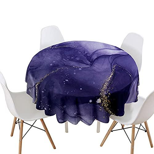 Highdi Impermeable Mantel de Redondo, 3D Arena movediza impresión Antimanchas Lavable Manteles Moderno Decoración para Salón, Cocina, Comedor, Mesa, Interior y Exterior (púrpura,Diámetro 90cm)
