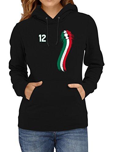 Shirt Happenz Mexiko Weltmeisterschaft 2018#33 Premium Hoodie Fan Trikot Fußball WM Nationalmannschaft Frauen Kapuzenpullover, Farbe:Schwarz;Größe:XL