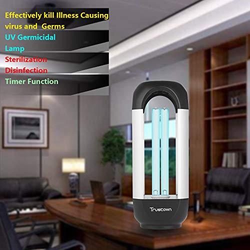 Trustown 220V 35W Lampada disinfettante per lampada UV, sterilizzatore per lampada germicida UVC per soggiorno, camera da letto, cucina, ufficio. nero + argento