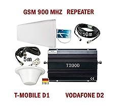 GSM Répéteur amplificateur de signal pour téléphonie T-Mobile D1 Vodafone D2 + antenne extérieure puissante + antenne intérieure omni puissante + accessoires de montage - Handy Signal Amplificateur Réseau mobile Signal mobile Signal de signal Renfort