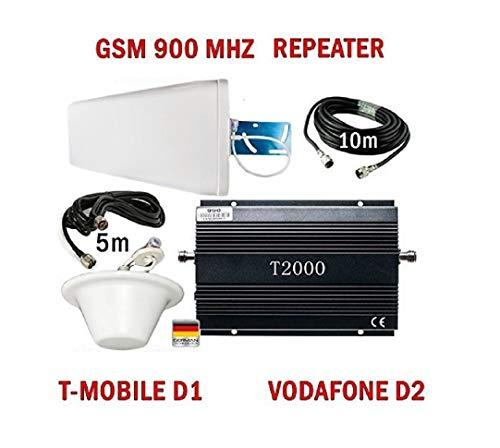 GSM Repeater Signalverstärker für Telefonie T-Mobile D1 Vodafone D2 + leistungsstarke Außenantenne + leistungsstarke Omni-Innenantenne + Montagezubehör - Handy Signal Verstärker Handynetz Handysignal Signalempfang Verstärkung