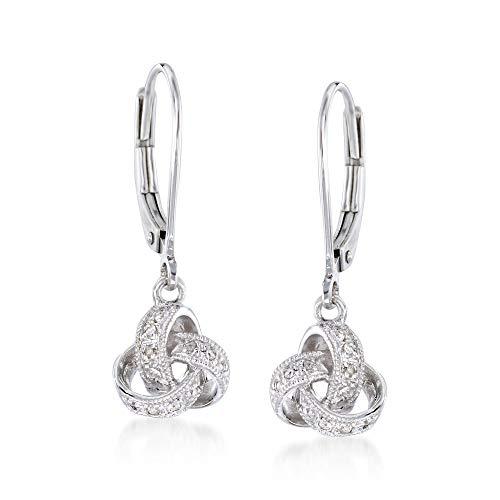 Ross-Simons Diamond Accented Love Knot Drop Earrings in Sterling Silver For Women 925