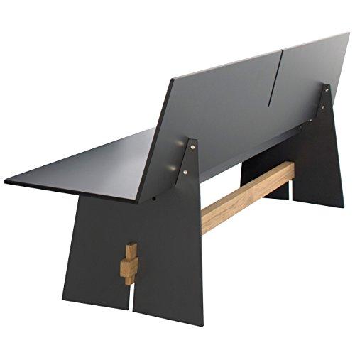 Conmoto Tension - Bank mit Rückenlehne 76 x 220 x 57 cm HPL anthrazit - Traverse aus Teak - ohne Auflage - Outdoorbank - Gartenbank