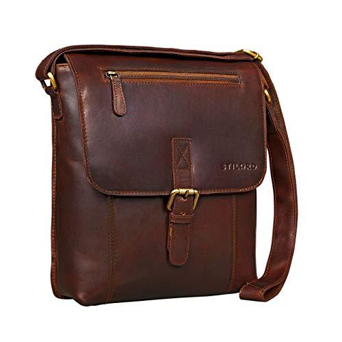 STILORD 'Matthias' Borsello in pelle Borsa a tracolla da uomo in cuoio vintage Piccola borsa messenger porta tablet e iPad da 10.1 pollici di vera pelle, Colore:cognac marrone scuro