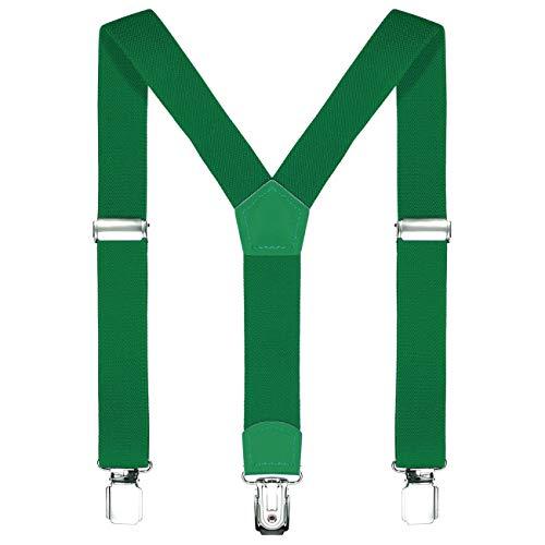 DonDon Kinder Hosenträger grün 2 cm schmal längenverstellbar für eine Körpergröße von 80 cm bis 110 cm bzw. 1-5 Jahre