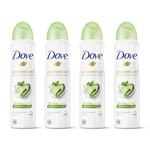 Dove Advanced Care Dry Spray Antiperspirant Deodorant for Women, Cool Essentials, for 48 Hour Protection And Soft And Comfortable Underarms, 3.8 oz, 4 Count