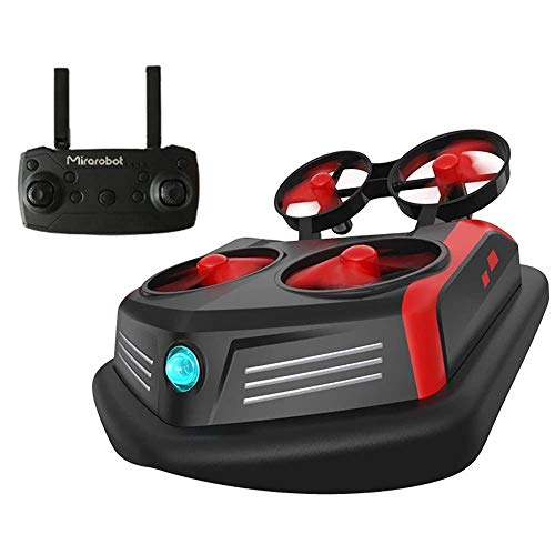 Mirarobot Domain S200 RC Boat EPP Remote Control Air Boat Amphibious Tiny Whoover Mini Hovercraft Racing Drone High Speed Ground Effect Anti-Crashed Land Driving & Planking Mode RTF with LED